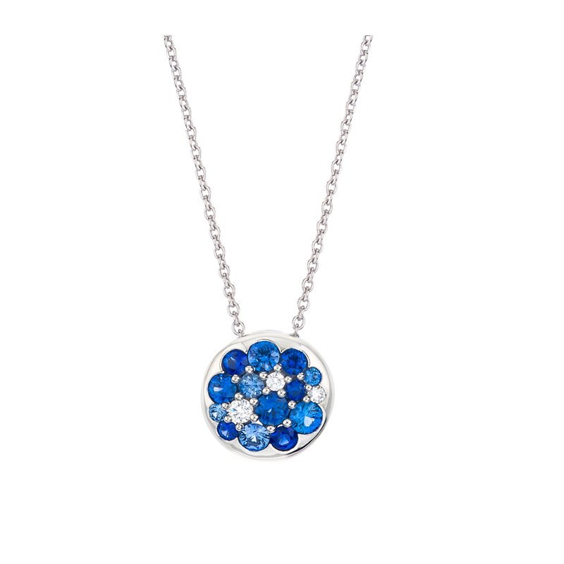Mark Patterson White Gold Sapphire & Diamond Round Tango Pendant