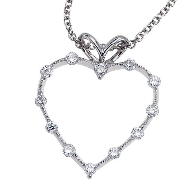 Color Merchants 14K White Gold Diamond Heart Pendant (.25 carat)