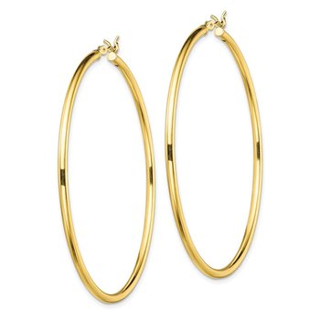Sterling Silver Gold-Tone Polished 2x55mm Hoop Earrings