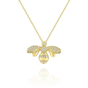 14k Gold and Diamond Honeybee Necklace