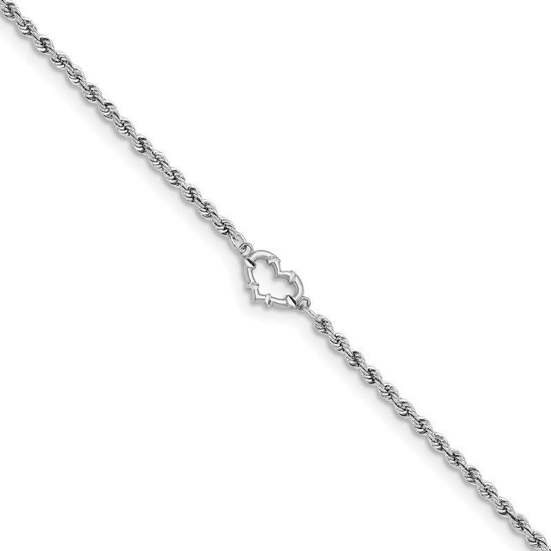 Quality Gold 14k White Gold D/C Rope with Heart Anklet