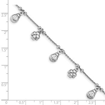 Sterling Silver Clover & Ladybug Dangle Bracelet