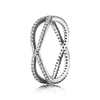 Crossing Paths Stackable Ring, Clear CZ