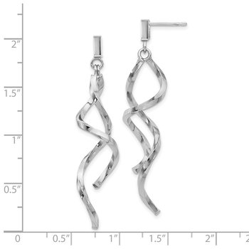 Leslie's 10K White Gold Polished Twisted Post Dangle Earrings
