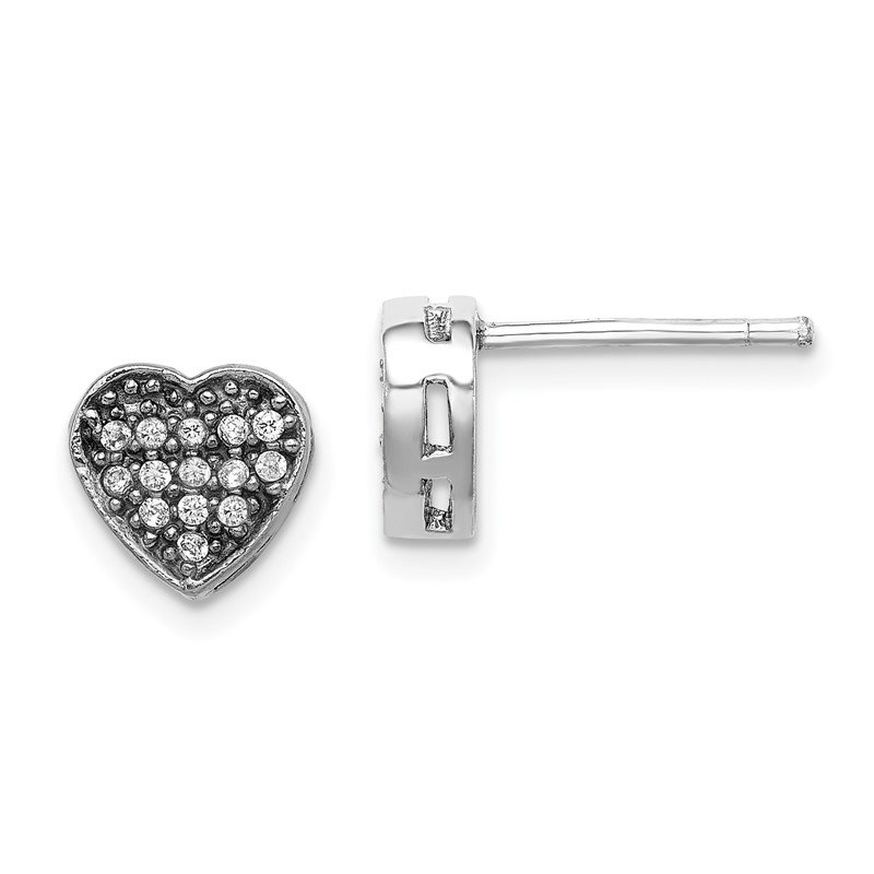 Quality Gold Sterling Silver Rhodium-plated CZ Polished Heart Post Earrings