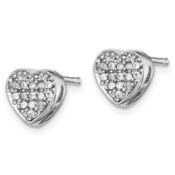 Sterling Silver Rhodium-plated CZ Polished Heart Post Earrings