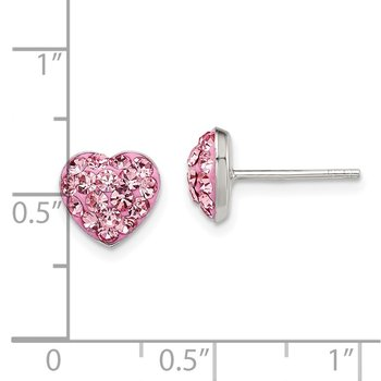 Sterling Silver Post Pink Preciosa Crystal Heart Earrings