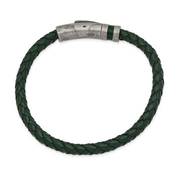 Stainless Steel Antiqued Green Leather 8.25in Bracelet
