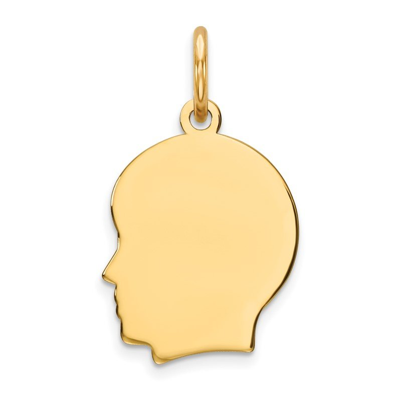 Quality Gold 14k Plain Small .009 Gauge Facing Left Engravable Boy Head Charm