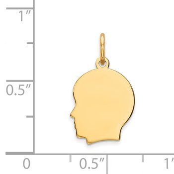 14k Plain Small .009 Gauge Facing Left Engravable Boy Head Charm