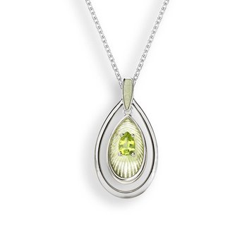 Yellow Teardrop Necklace.Sterling Silver-Peridot