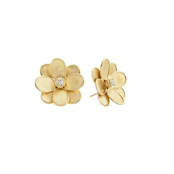 Marco Bicego® Petali Collection 18K Yellow Gold and Diamond Flower Stud Earrings