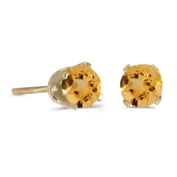 14k Yellow Gold 4 mm Round Citrine Screw-back Stud Earrings