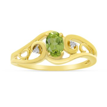 14k Yellow Gold Oval Peridot And Diamond Ring