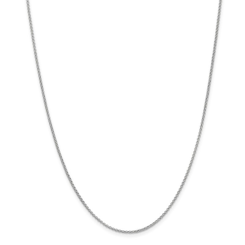 14k White Gold 1.55mm Rolo Pendant Chain