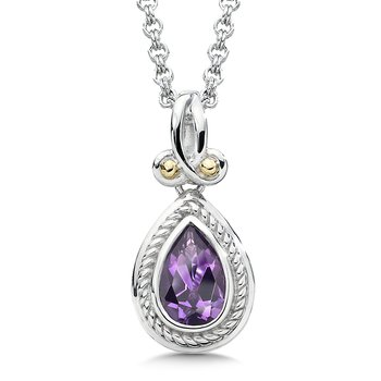 Sterling Silver, 18K Gold and Amethyst Pendant