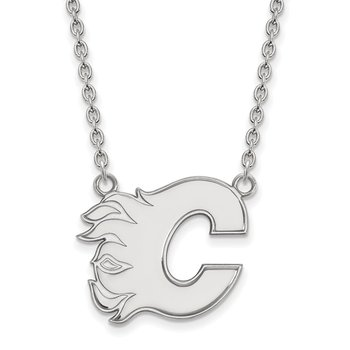 Sterling Silver Calgary Flames NHL Necklace