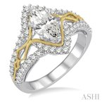 ASHI marquise semi-mount diamond engagement ring