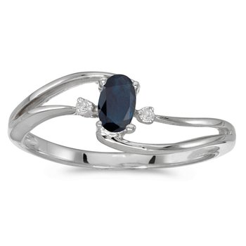 14k White Gold Oval Sapphire And Diamond Wave Ring