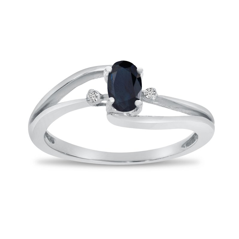 Color Merchants 14k White Gold Oval Sapphire And Diamond Wave Ring