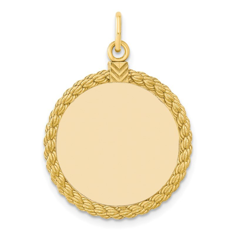 Quality Gold SS Gold Plate Engraveable Round with Rope Polished Front/Satin Back Disc