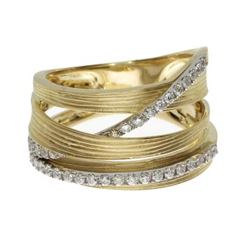 14k Yellow Gold Brushed Wide Diamond Ring