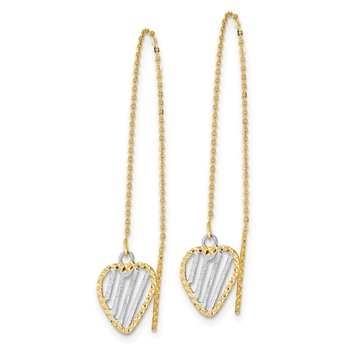 14k & Rhodium Polished Satin and D/C Heart Threader Earrings