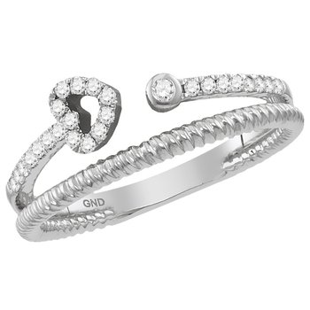 10kt White Gold Womens Round Diamond Heart Bisected Stackable Band Ring 1/5 Cttw