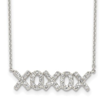 Sterling Silver Polished CZ XOXOX Necklace