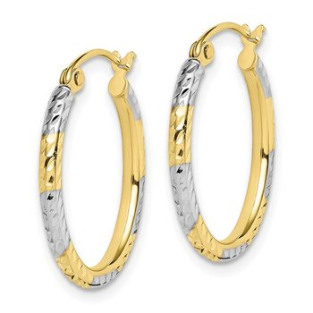 10K & Rhodium Diamond Cut Patterned Oval Hoop Earrings