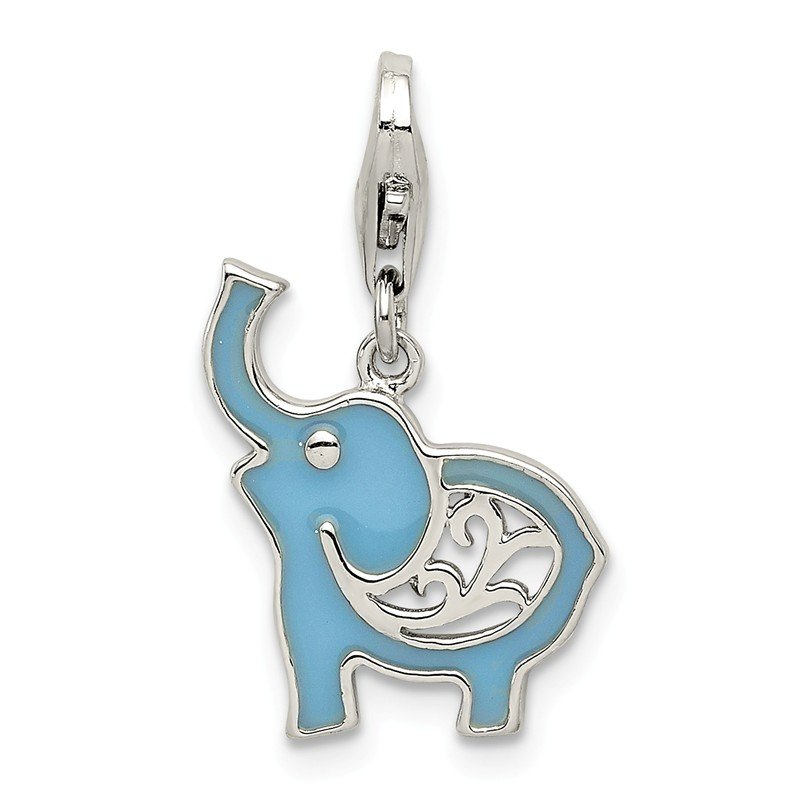 Quality Gold Sterling Silver Blue Enameled Elephant Charm