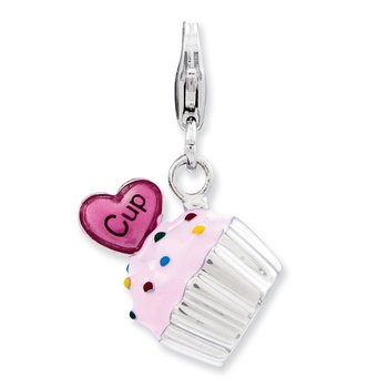 Sterling Silver Enameled 3-D Cupcake and Heart w/Lobster Clasp Charm