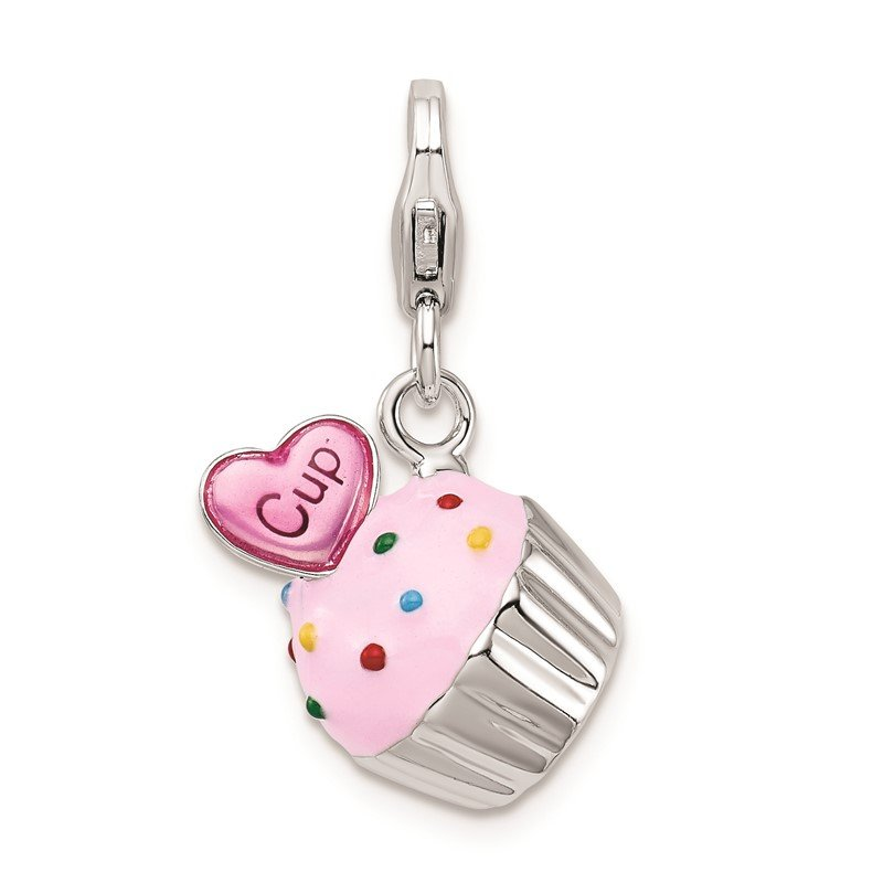 Quality Gold Sterling Silver Amore La Vita Rhod-pl Enameled 3-D Cupcake Heart Charm