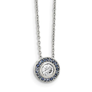 Sterling Silver Glass Blue Glass/CZ Round/Halo Necklace