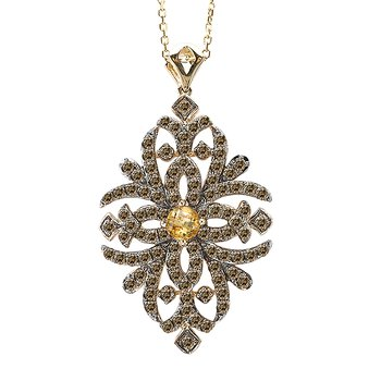 14ky Brown Diamond and Citrine Pendant