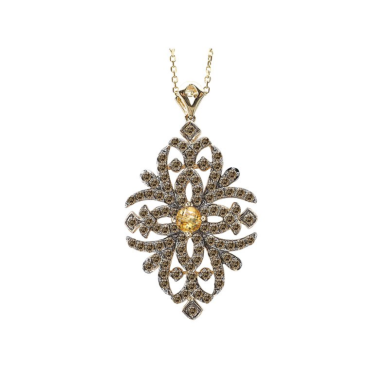 Tesoro 14ky Brown Diamond and Citrine Pendant