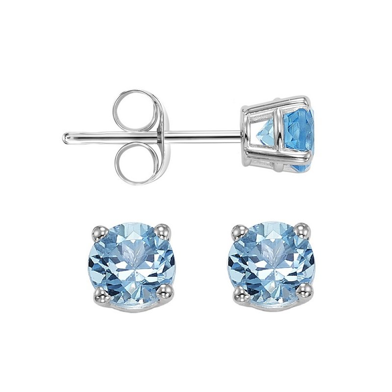 Gems One Four Prong Blue Topaz Studs in 14K White Gold (4 MM)