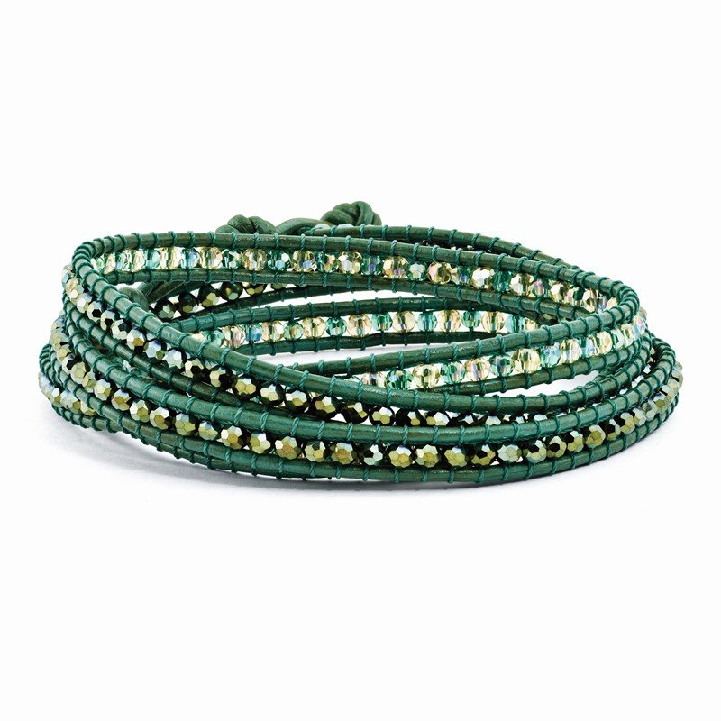 Quality Gold Green Leather Green Crystal Beaded Multi Wrap Brass Button Bracelet