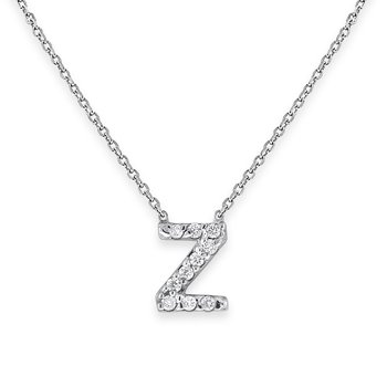 Diamond Bitty Block Initial Z Necklace