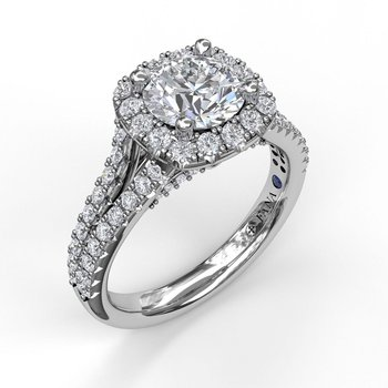 Cushion Halo Engagement Ring with a Diamond Encrusted Split Band