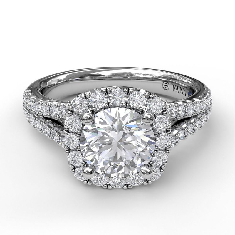 Fana Cushion Halo Engagement Ring with a Diamond Encrusted Split Band