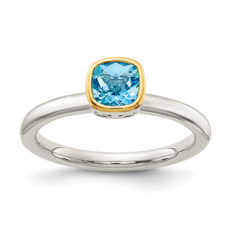 Quality Gold Sterling Silver w/ 14K Accent Light Swiss Blue Topaz Ring