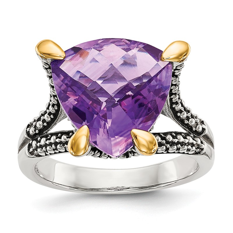 Sterling Silver with 14k Amethyst Ring
