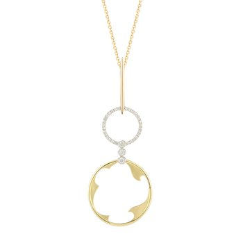 14K double circle necklace 33 Diamonds 0.13C
