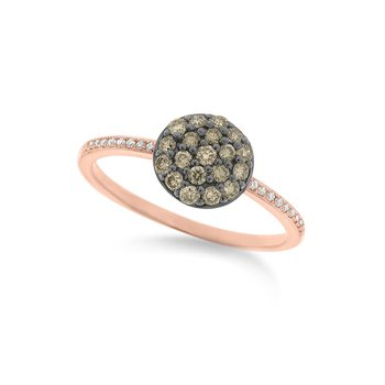 Champagne and White Diamond Pave Disc Ring in 14K Rose Gold with 37 Diamonds Weighing .36ct tw