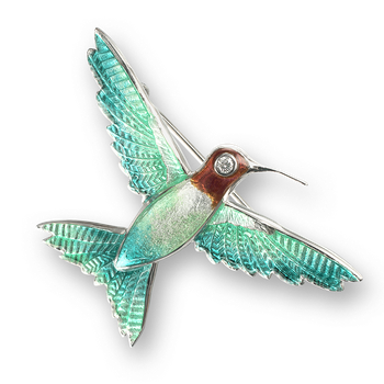 Sterling Silver Hummingbird Brooch-Green. Diamonds