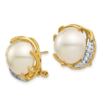 14K 12-13mm Saltwater Cultured Mabe Pearl .10ct Diamond Omega Back Earrings