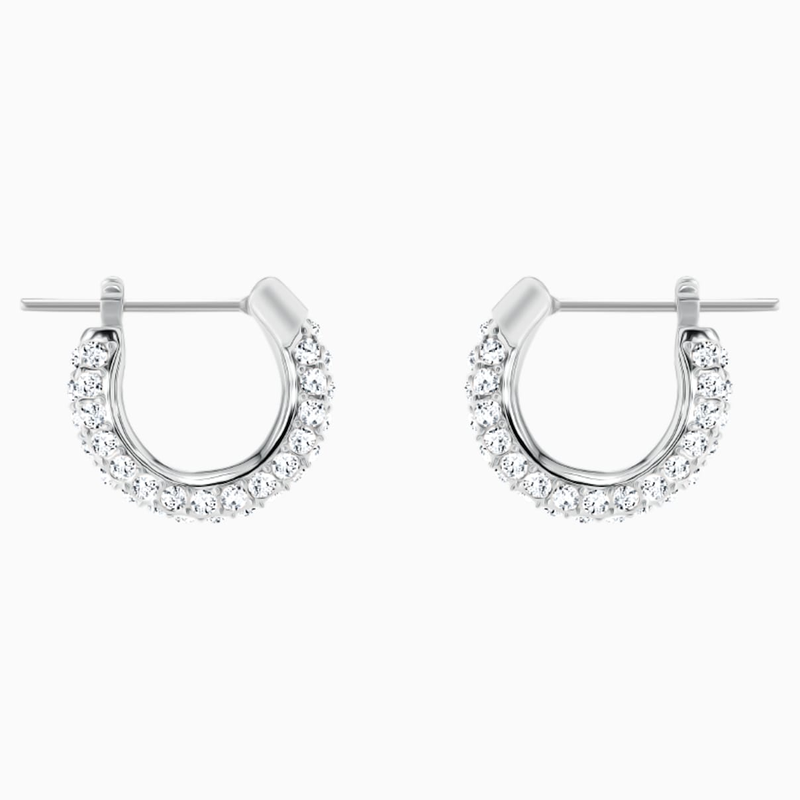 Swarovski Stone Pierced Earrings, White, Rhodium plated