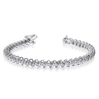 "14K White Gold Diamond ""S"" Illusion Bracelet"