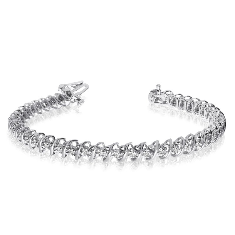 "Color Merchants 14K White Gold Diamond ""S"" Illusion Bracelet"